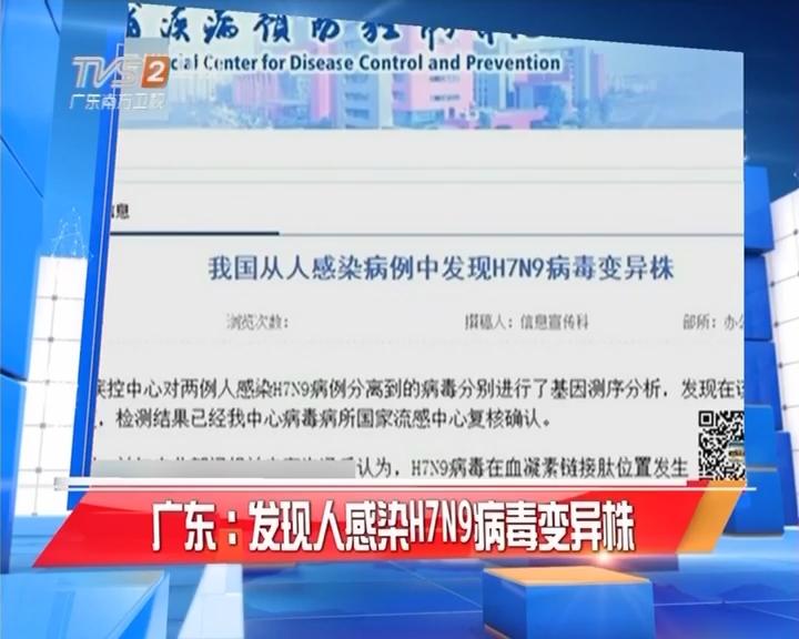 广东:发现人感染H7N9病毒变异株