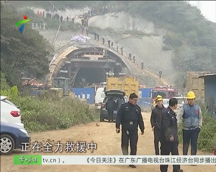 江门:隧道坍塌一人被困 多方全力救援