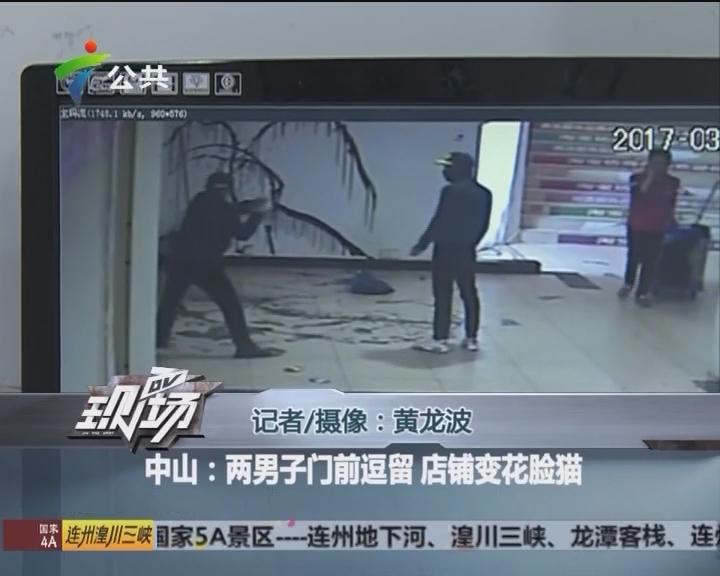 中山:两男子门前逗留 店铺变花脸猫