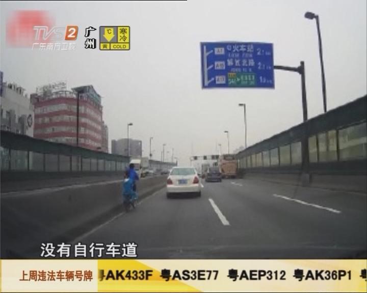 网友报料:小孩踩单车上内环路