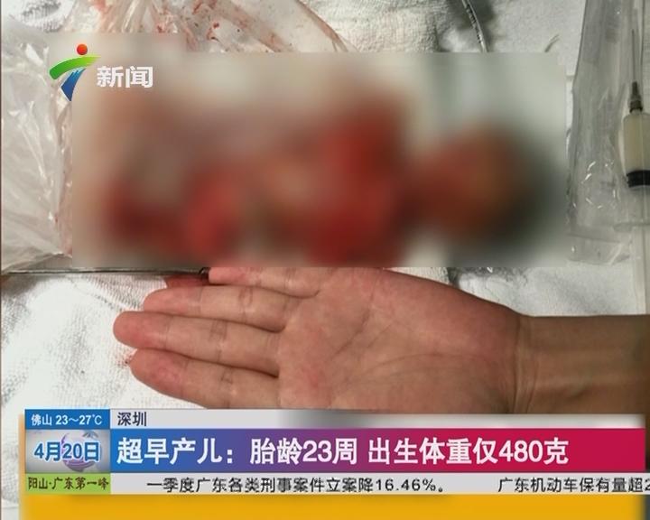 深圳 超早产儿:胎龄23周 出生体重仅480克