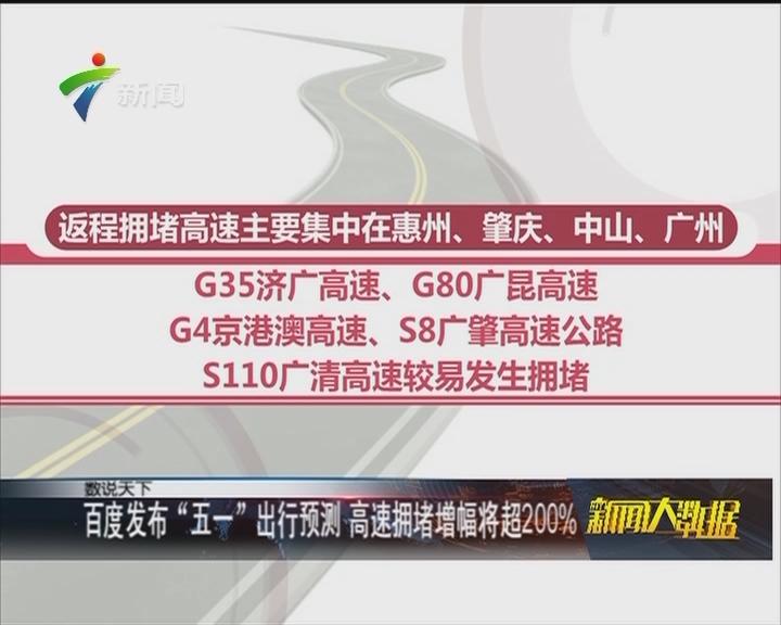 """百度发布""""五一""""出行预测 高速拥堵增幅将超200%"""