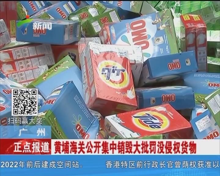 广州:黄埔海关公开集中销毁大批罚没侵权货物