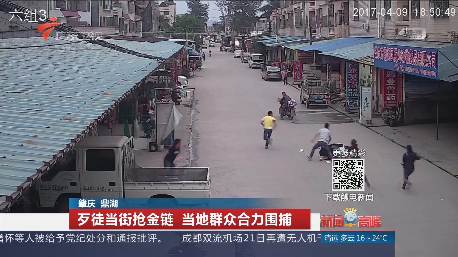 肇庆鼎湖:歹徒当街抢金链 当地群众合力围捕