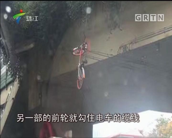 广州:共享单车悬空吊在电缆线引众怒
