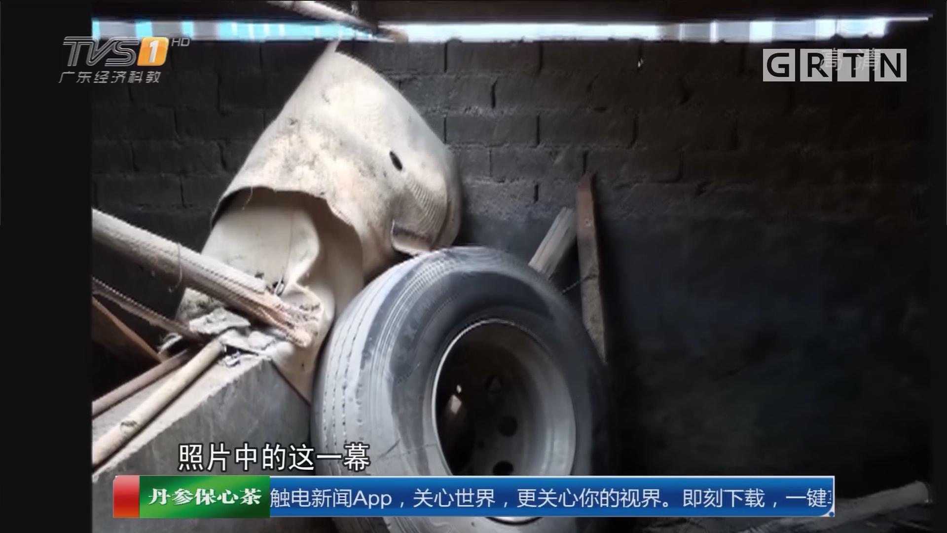 """潮州潮安:猪圈""""天降""""轮胎 怀疑来自高速公路"""