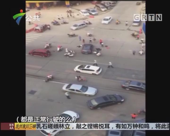 肇庆:小车摩托车碰撞 司机慎防视觉盲点