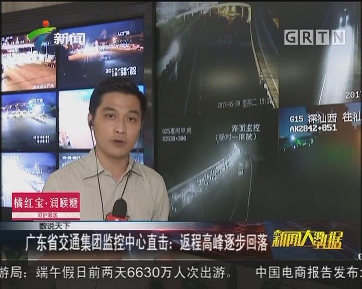 广东省交通集团监控中心直击:返程高峰逐步回落