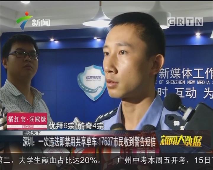 深圳:一次违法即禁用共享单车 17537市民收到警告短信