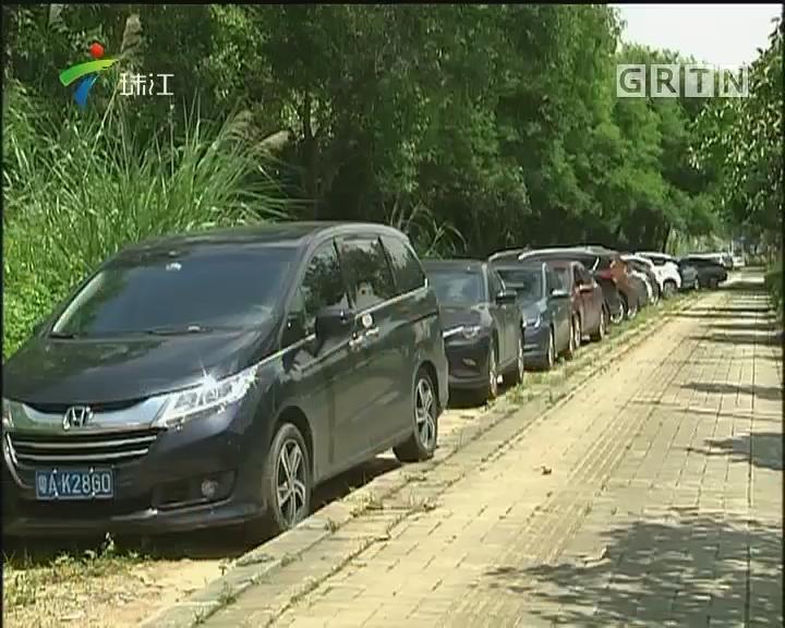 广州:地铁站旁车位紧缺 车主停上绿化带