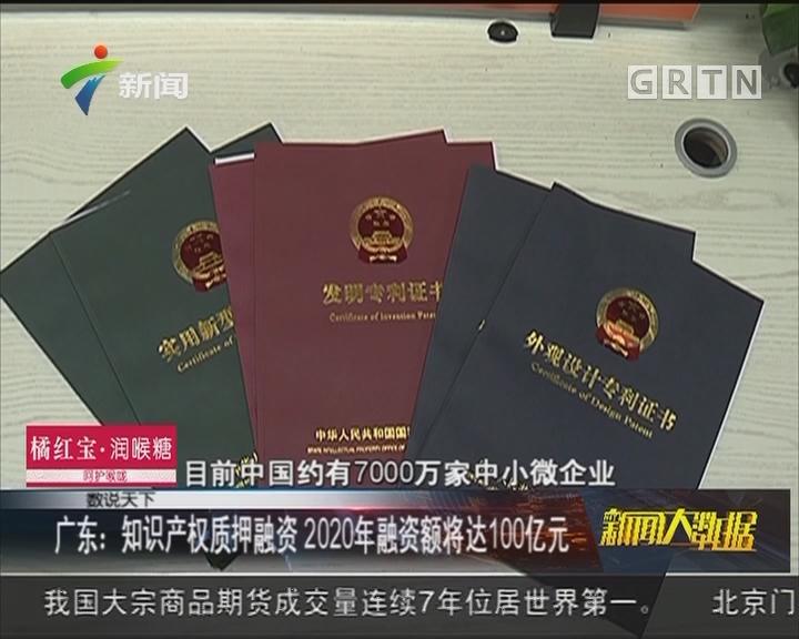 广东:知识产权质押融资 2020年融资额将达100亿元