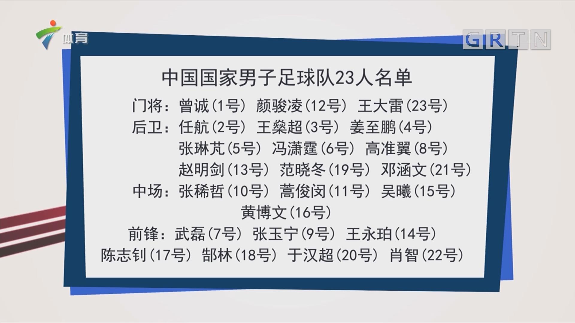 国足23人名单:郑智缺席 尹鸿博停赛