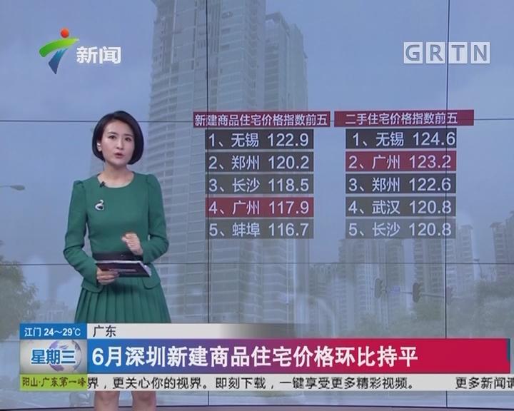 广东:6月深圳新建商品住宅价格环比持平