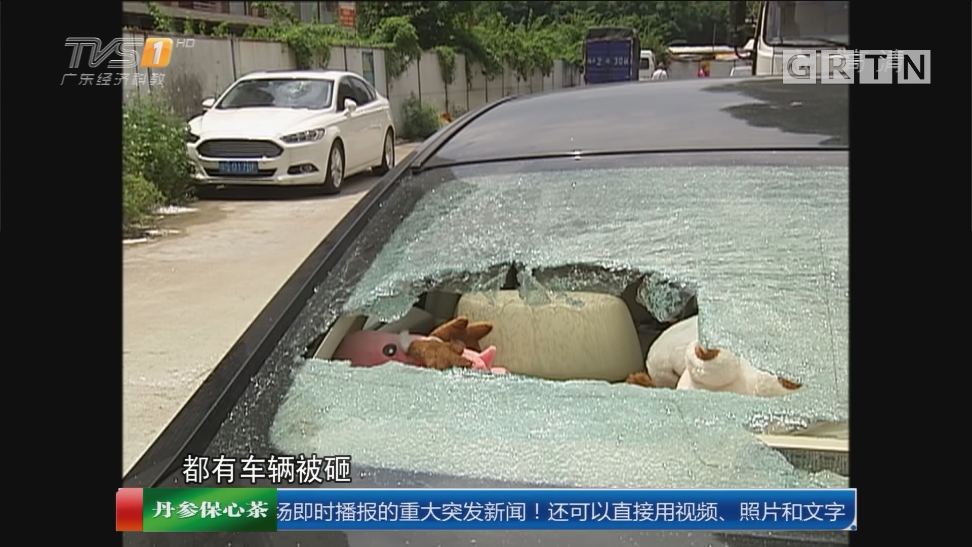 """广州荔湾区东漖新村:小区惊现""""砸车狂魔""""数十小车遭殃"""