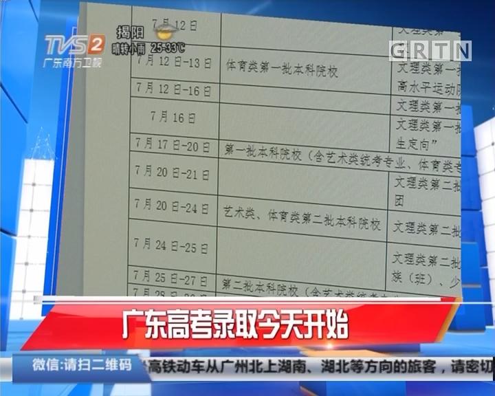 广东高考录取今天开始