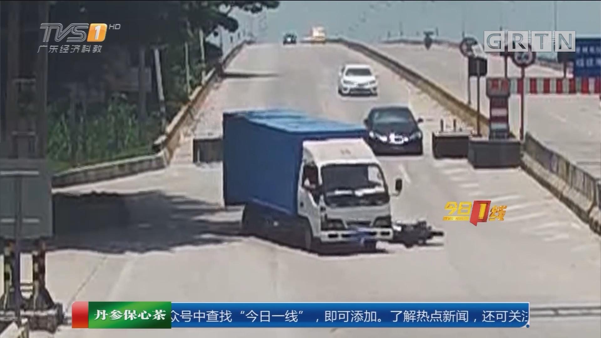东莞桥头:货车与摩托相撞 肇事者逃逸后终自首