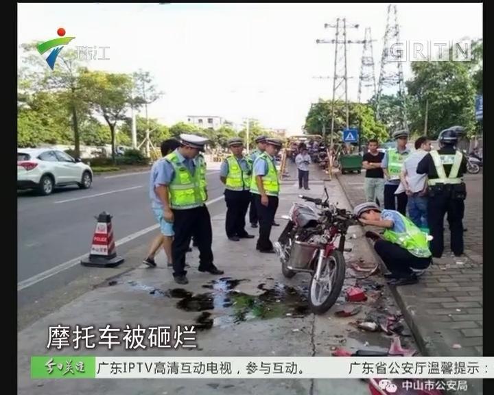 中山:摩托车主拒配合查车 竟自砸车辆