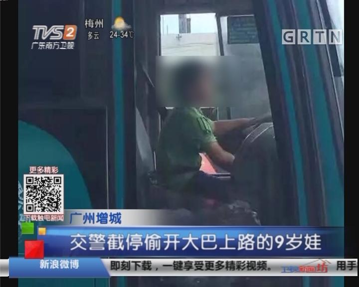 广州增城:交警截停偷开大巴上路的9岁娃