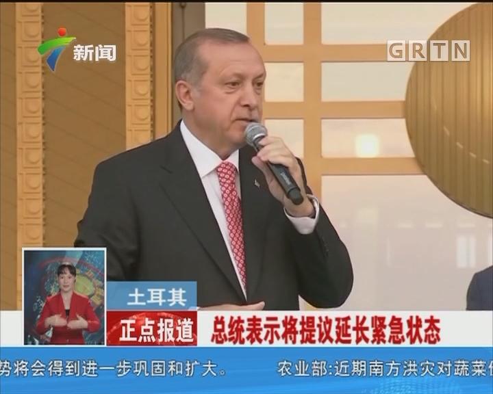 土耳其:总统表示将提议延长紧急状态