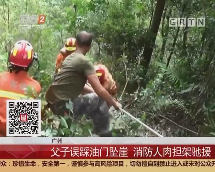 广州:父子误踩油门坠崖 消防人肉担架驰援