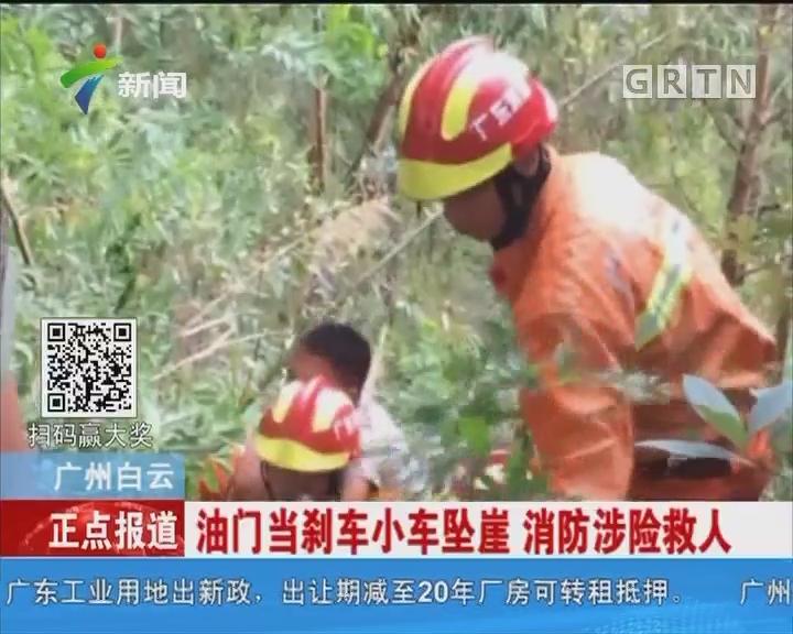 广州白云:油门当刹车小车坠崖 消防涉险救人