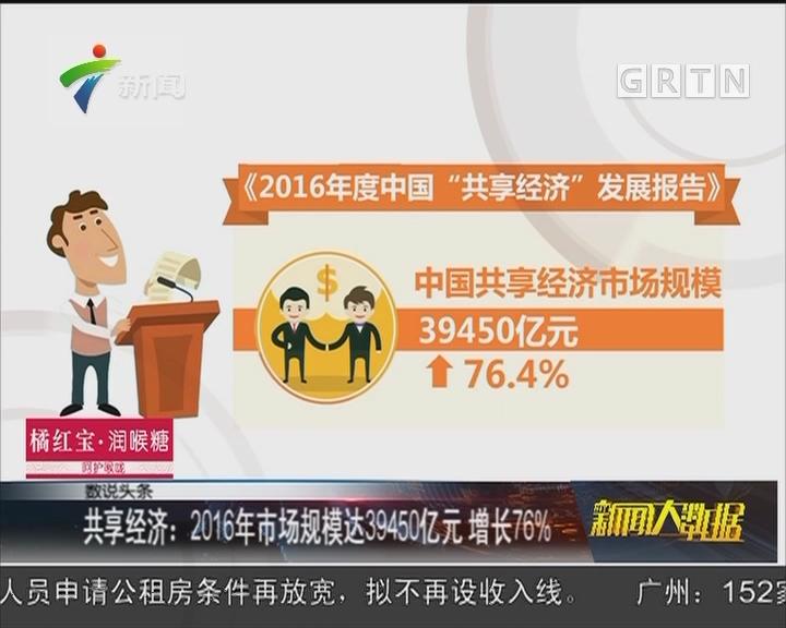 共享经济:2016年市场规模达39450亿元 增长76%