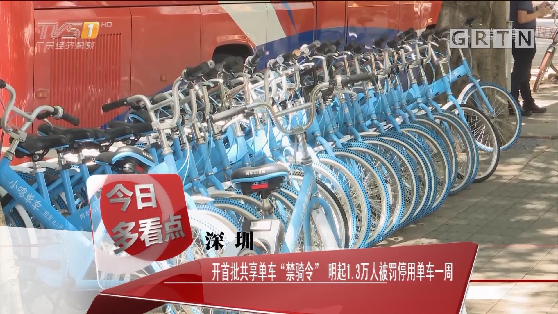 """深圳:开首批共享单车""""禁骑令"""" 明起1.3万人被罚停用单车一周"""
