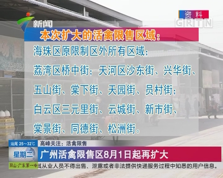 高峰关注:活禽限售 广州活禽限售区8月1日起再扩大