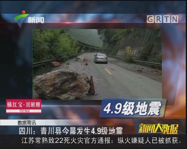 四川:青川县今晨发生4.9级地震