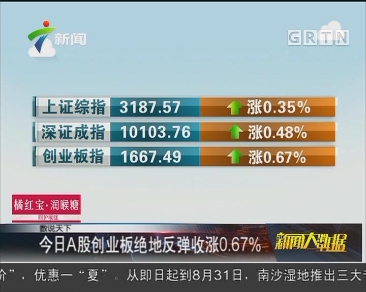 今日A股创业板绝地反弹收涨0.67%