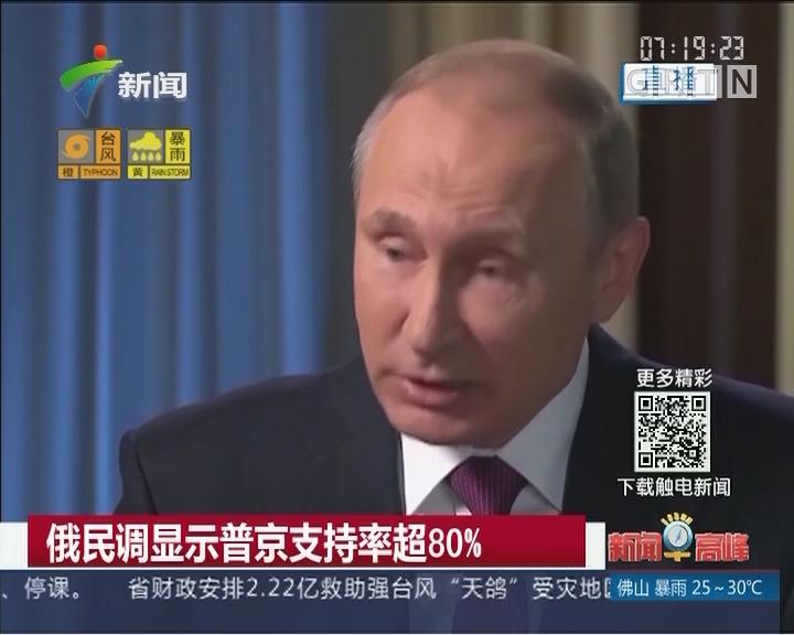 俄民调显示普京支持率超80%