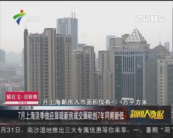 7月上海淡季效应显现新房成交面积创7年同期新低