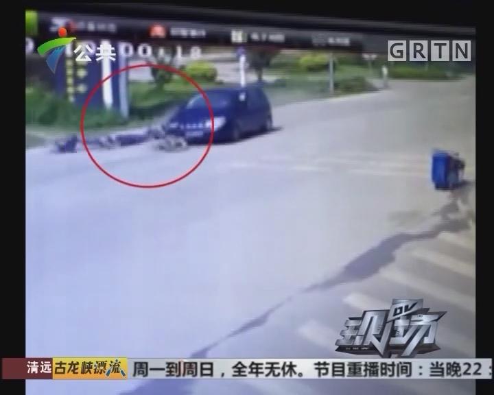 肇庆:摩托车被撞飞20米 小车逃逸街坊救人