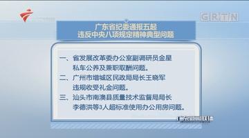 广东省纪委通报五起违反中央八项规定精神典型问题