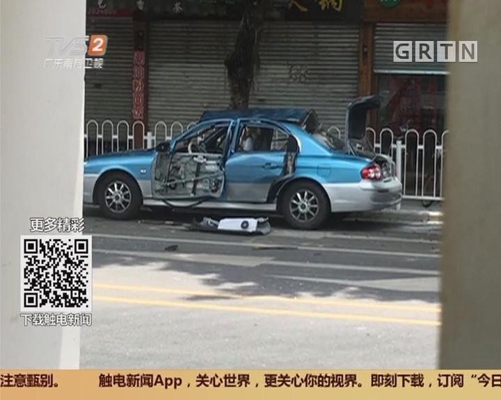广州荔湾:的士尾箱起火爆炸 波及附近商铺