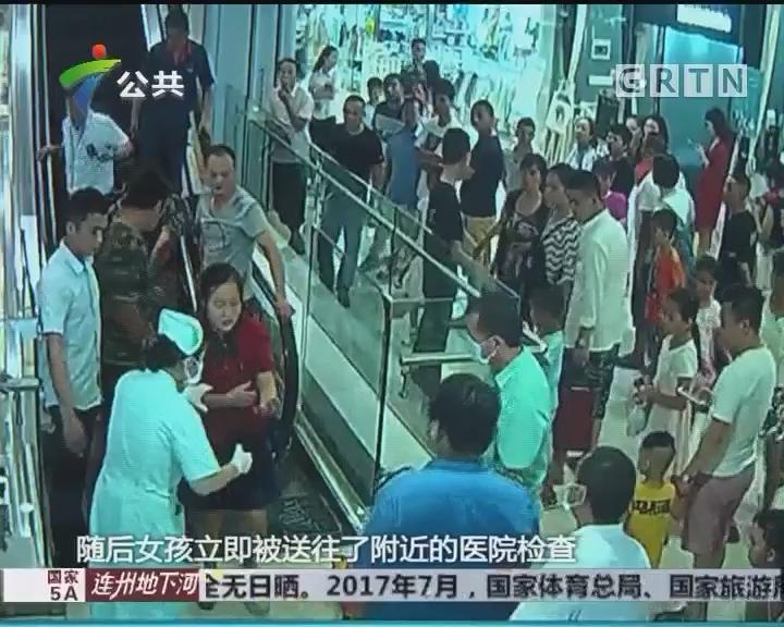 女孩手被卷入电梯 消防紧急救援