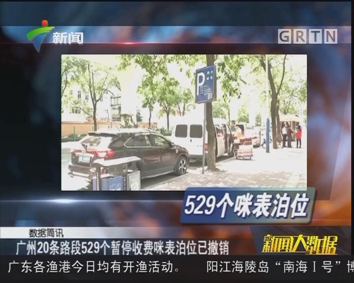 广州20条路段529个暂停收费咪表泊位已撤销