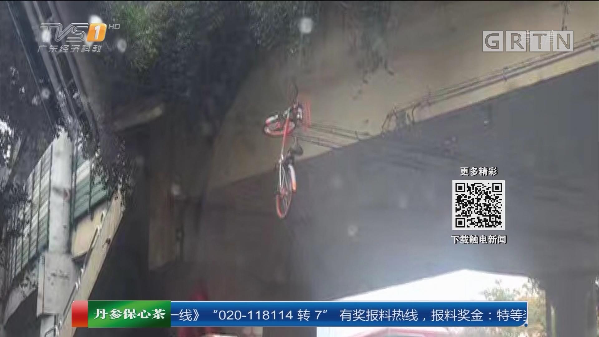 """广州:恶意损坏共享单车案宣判 恶意损坏共享单车 单车""""飞""""上天"""