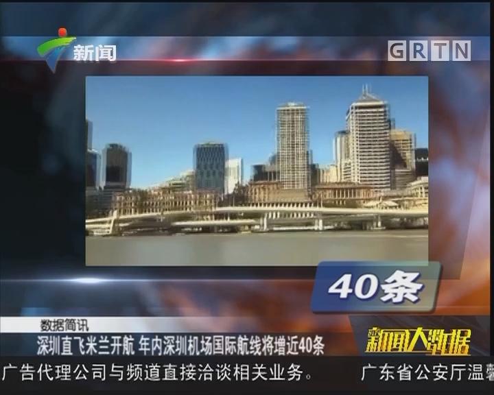 深圳直飞米兰开航 年内深圳机场国际航线将增近40条