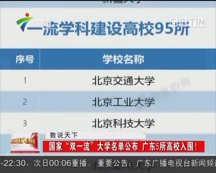 """国家""""双一流""""大学名单公布 广东5所高校入围!"""