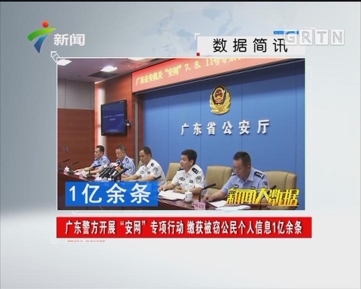 """广东警方开展""""安网""""专项行动 缴获被窃公民个人信息1亿余条"""