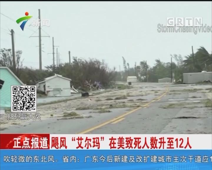 """飓风""""艾尔玛""""在美致死人数升至12人"""