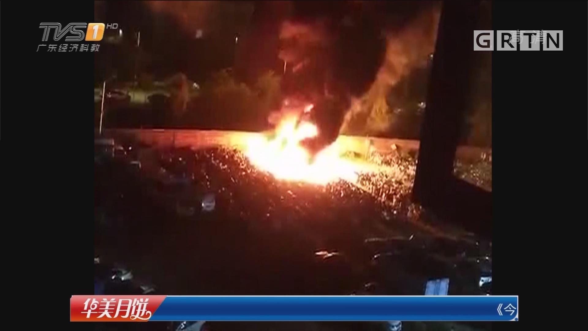 佛山顺德:违法肇事车辆停车场失火 消防及时扑灭
