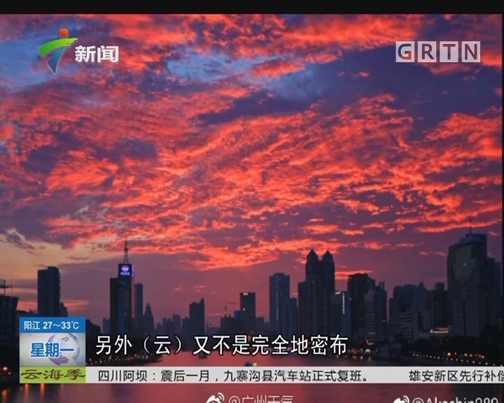 广州:火烧云美翻朋友圈 跟台风将到有关?