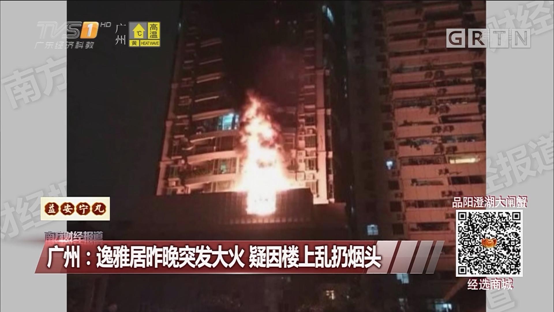 广州:逸雅居昨晚突发大火 疑因楼上乱扔烟头
