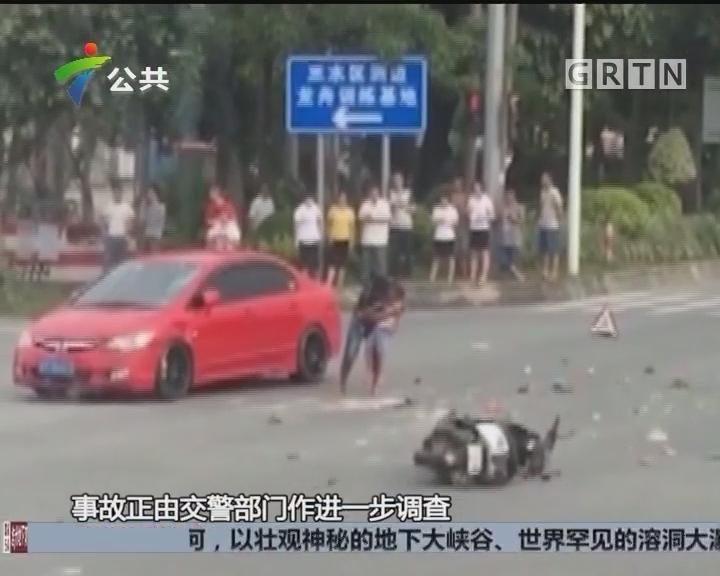 佛山:摩托车闯红灯酿祸 安全意识亟待加强
