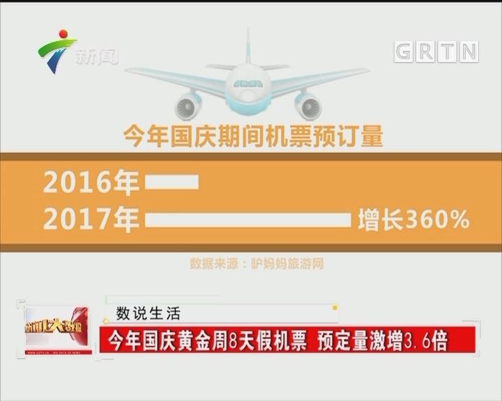 今年国庆黄金周8天假机票 预定量激增3.6倍