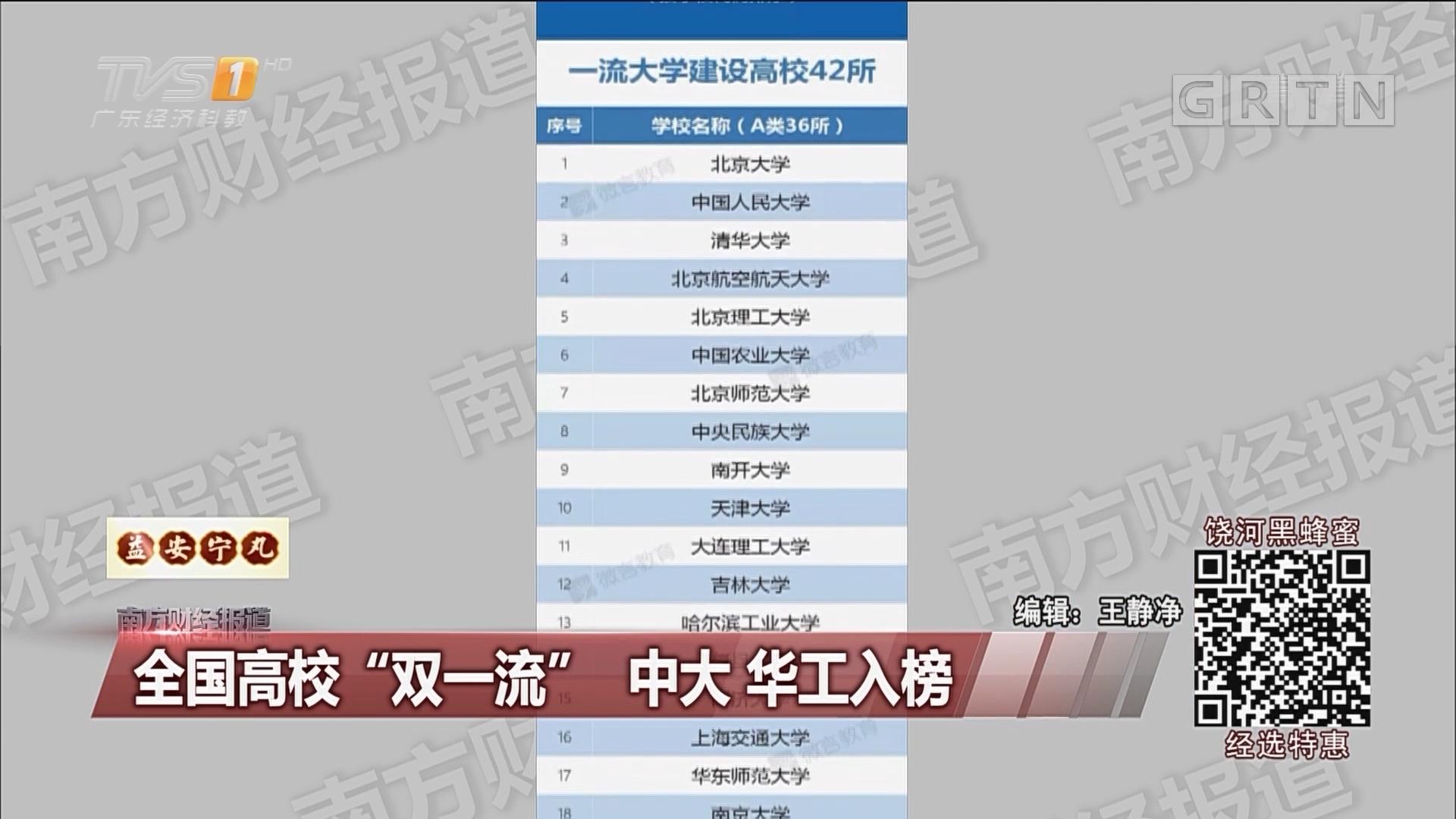"""全国高校""""双一流"""" 中大华工入榜"""