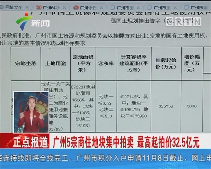 广州5宗商住地块集中拍卖 最高起拍价32.5亿元