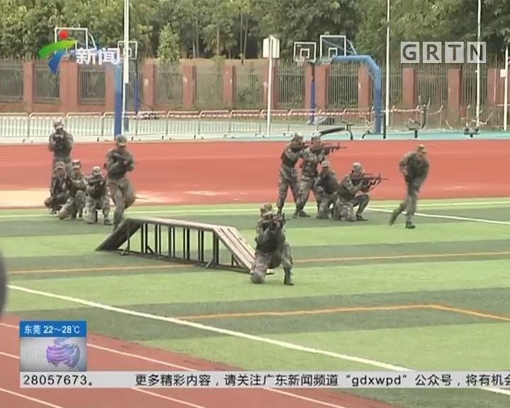 广州:全市首届中学生军事训练成果会操